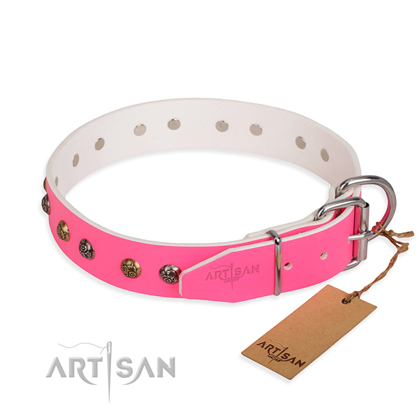 Natural leather dog collar with exquisite corrosion resistant decorations