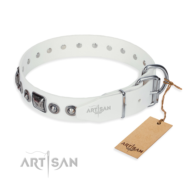 Gentle to touch full grain leather dog collar created for handy use