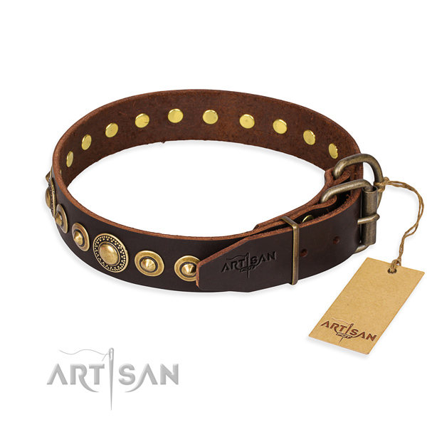 Strong genuine leather dog collar created for easy wearing