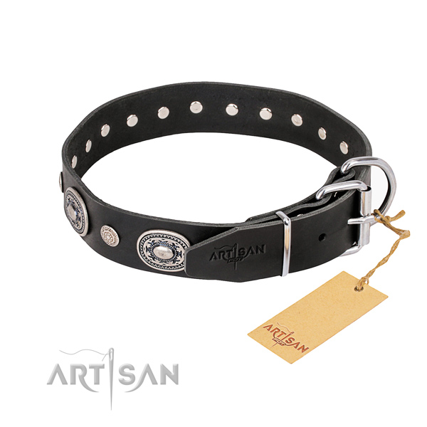 Soft full grain natural leather dog collar handcrafted for fancy walking