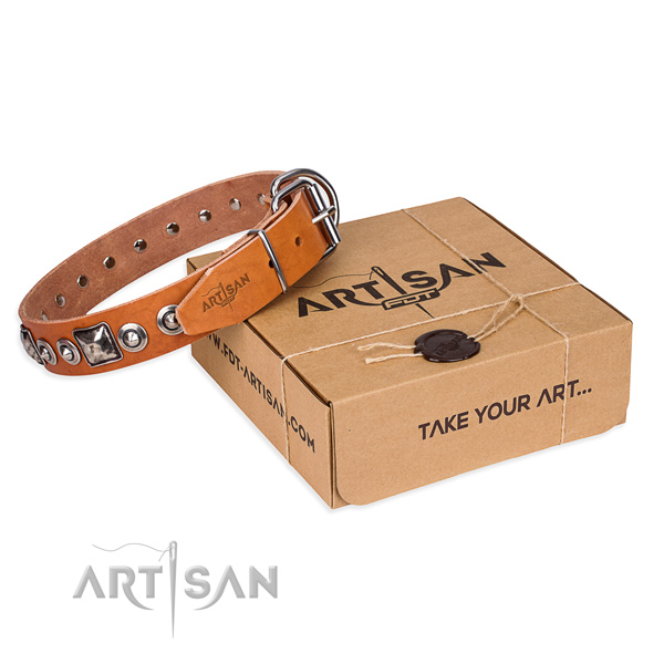 Full grain leather dog collar made of soft material with corrosion resistant hardware