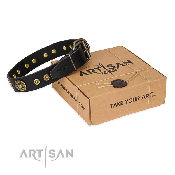 Genuine leather dog collar made of best quality material with rust-proof fittings