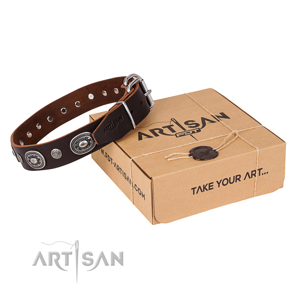 Best quality full grain leather dog collar handcrafted for daily walking