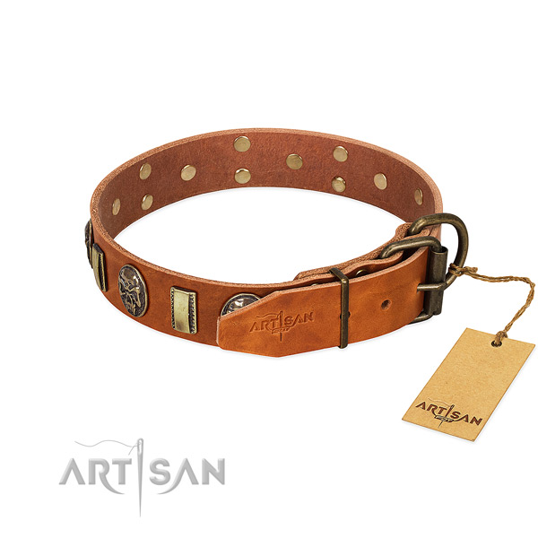 Full grain genuine leather dog collar with rust resistant D-ring and embellishments