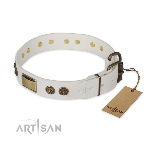Rust resistant hardware on full grain leather collar for basic training your pet