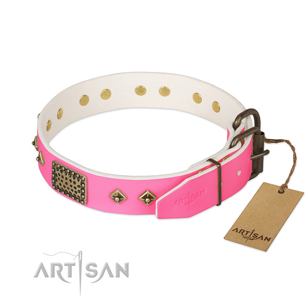 Strong buckle on comfy wearing dog collar