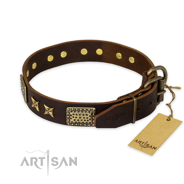 Durable traditional buckle on full grain leather collar for your impressive four-legged friend