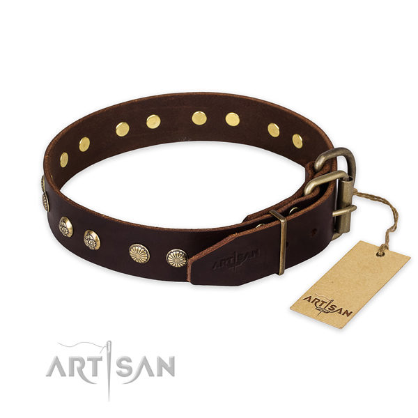 Reliable D-ring on natural genuine leather collar for your handsome doggie