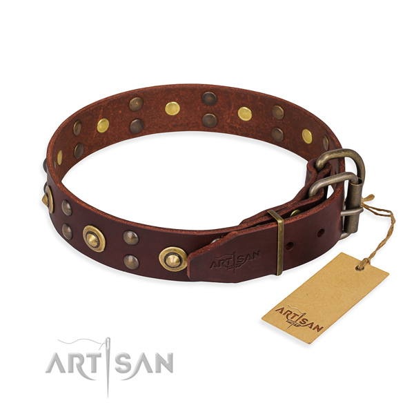 Rust-proof D-ring on full grain leather collar for your handsome canine