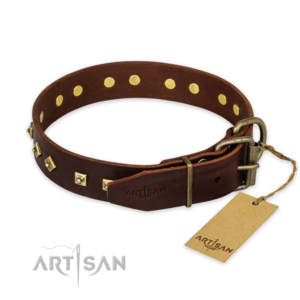 Rust-proof hardware on genuine leather collar for stylish walking your doggie