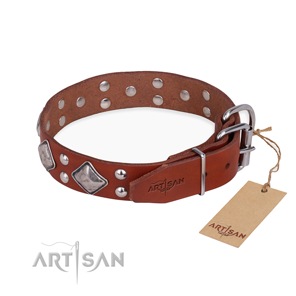 Genuine leather dog collar with stunning rust resistant adornments
