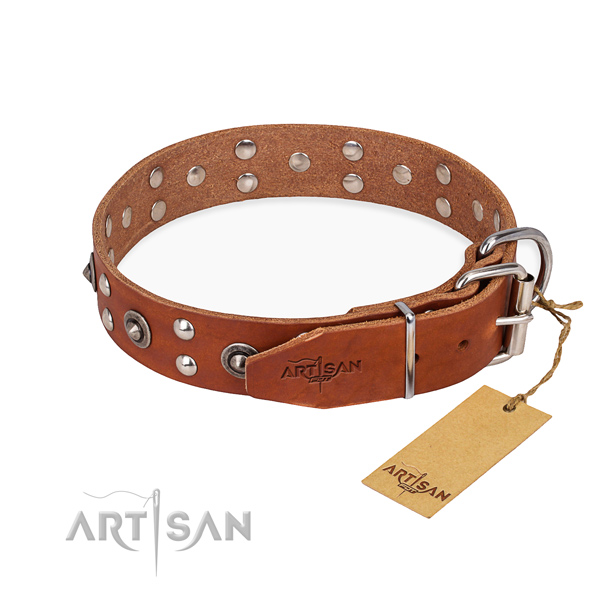 Reliable buckle on genuine leather collar for your beautiful doggie