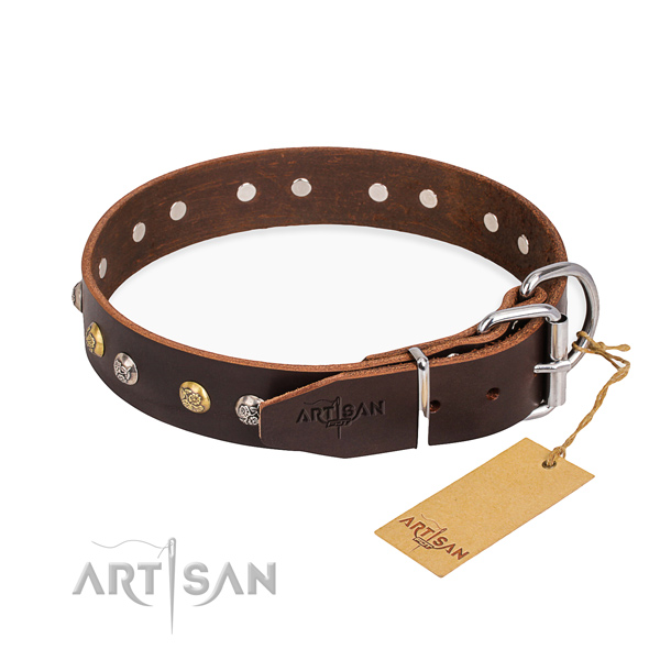 Top notch natural genuine leather dog collar handmade for handy use