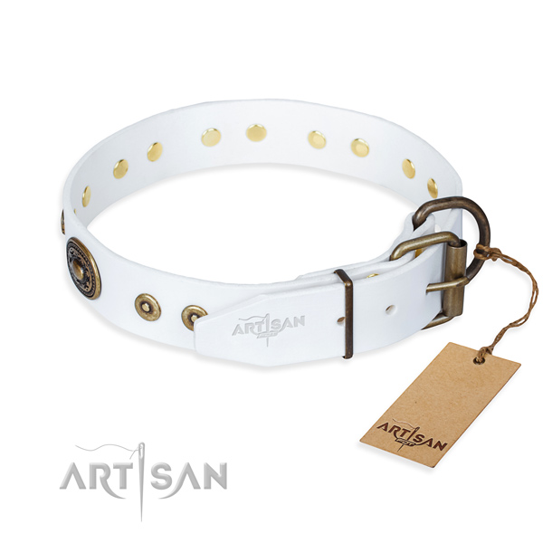 Genuine leather dog collar made of top rate material with rust resistant embellishments