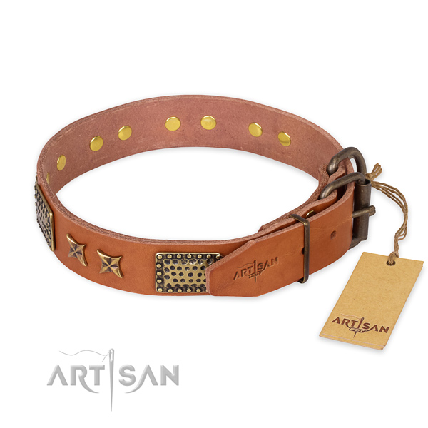 Rust resistant traditional buckle on full grain genuine leather collar for your impressive dog