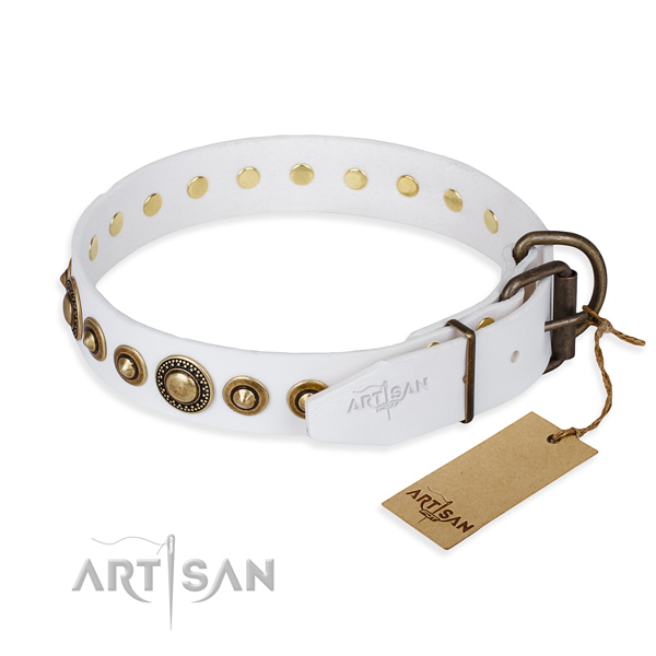 Soft to touch leather dog collar handmade for comfy wearing