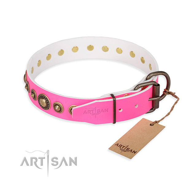 Strong natural genuine leather dog collar handmade for everyday use