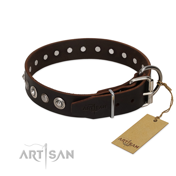 Top quality full grain natural leather dog collar with incredible decorations