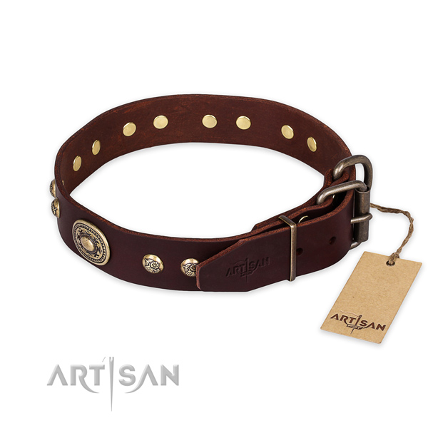 Rust resistant hardware on full grain genuine leather collar for stylish walking your four-legged friend