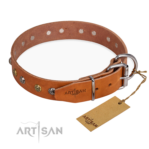 Flexible full grain natural leather dog collar created for daily walking