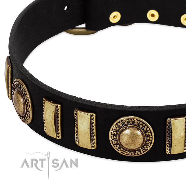 Soft genuine leather dog collar with strong traditional buckle