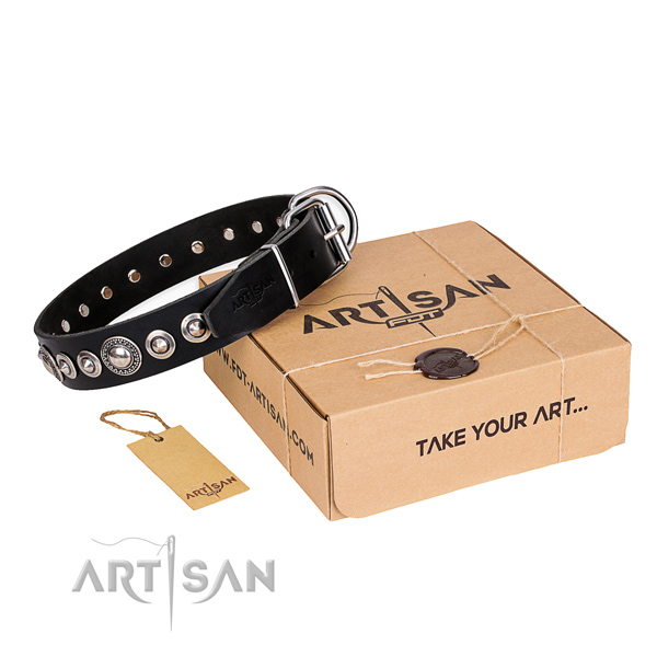 Finest quality genuine leather dog collar