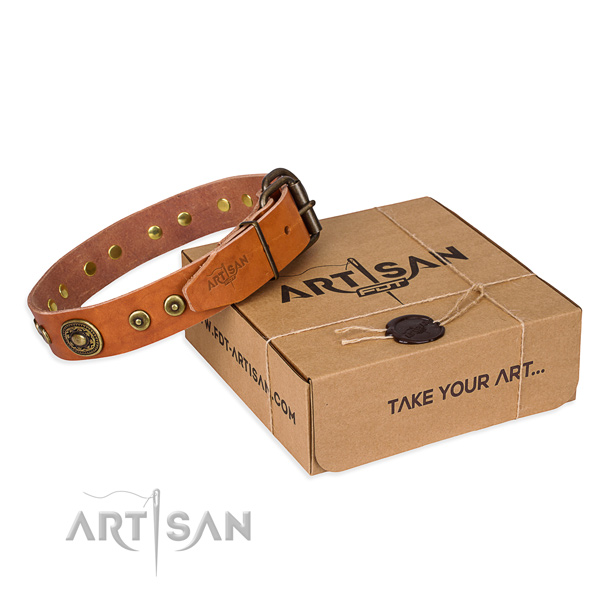 Natural genuine leather dog collar made of quality material with reliable hardware