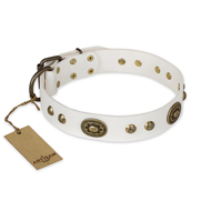 """Adorable Dream"" FDT Artisan White Leather Dogue de Bordeaux Collar"