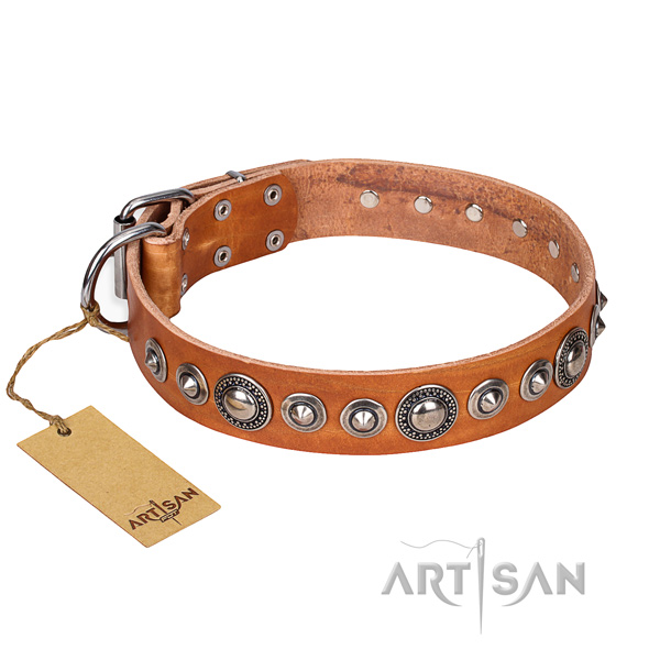 Full grain leather dog collar made of soft to touch material with durable D-ring