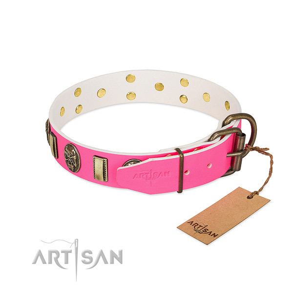 Durable hardware on natural genuine leather dog collar for your dog