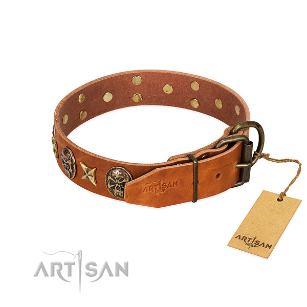 Full grain natural leather dog collar with durable D-ring and adornments