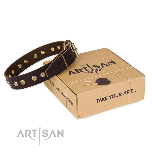 Durable hardware on natural genuine leather collar for your stylish four-legged friend