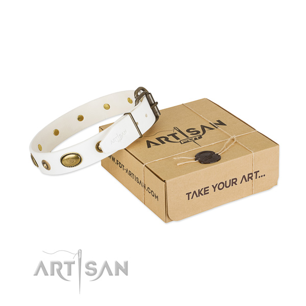 Adjustable full grain genuine leather collar for your lovely canine