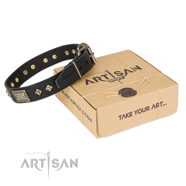 Stylish full grain genuine leather collar for your impressive doggie
