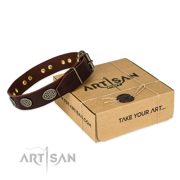 Strong fittings on leather collar for your impressive pet