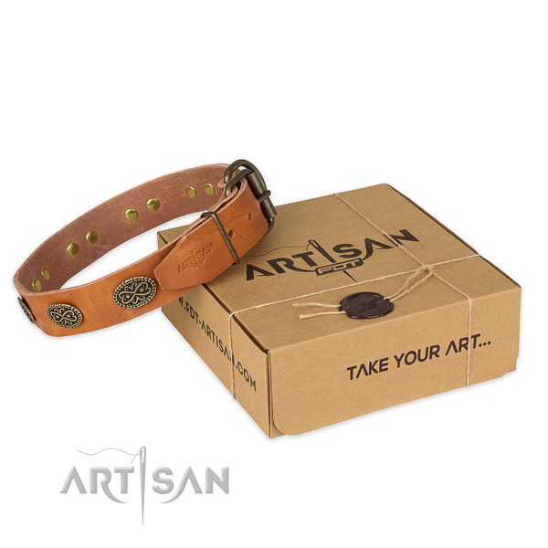 Corrosion resistant buckle on full grain natural leather collar for your lovely pet