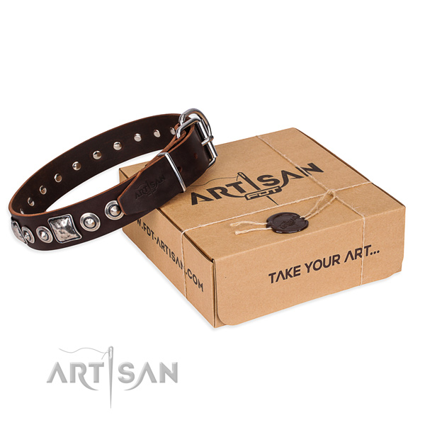 Full grain genuine leather dog collar made of flexible material with strong fittings