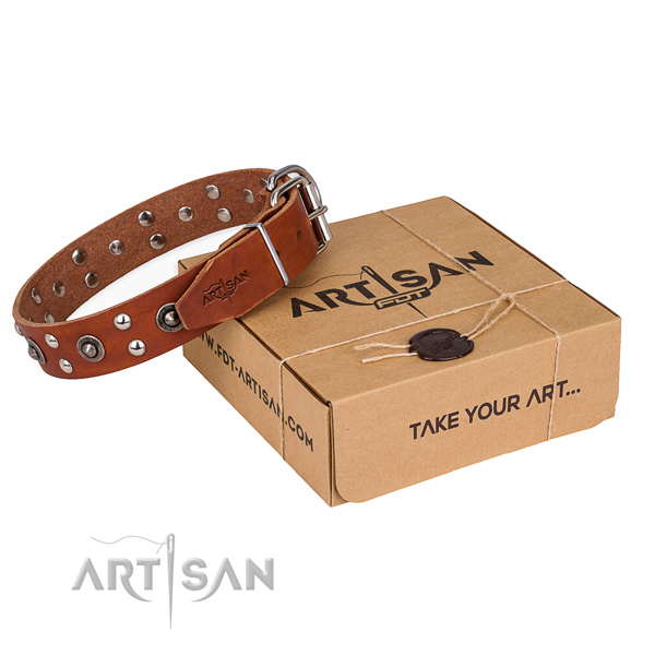 Rust-proof D-ring on full grain genuine leather collar for your beautiful pet