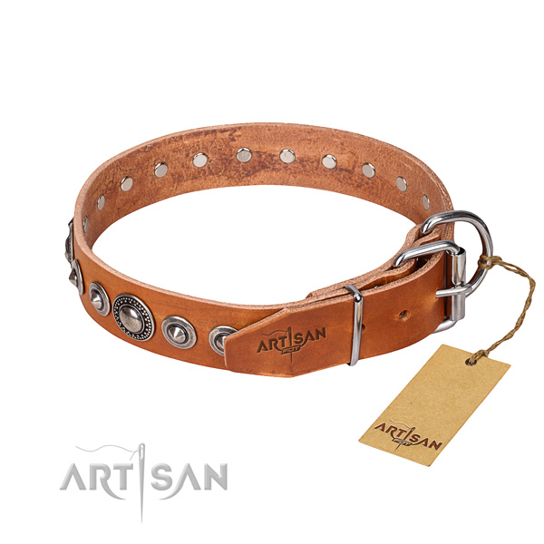 Full grain leather dog collar made of top notch material with strong decorations