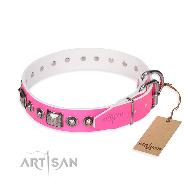 Reliable natural genuine leather dog collar handmade for everyday use