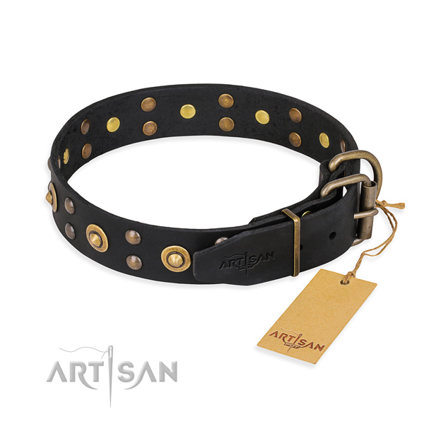 Rust-proof hardware on full grain leather collar for your impressive four-legged friend