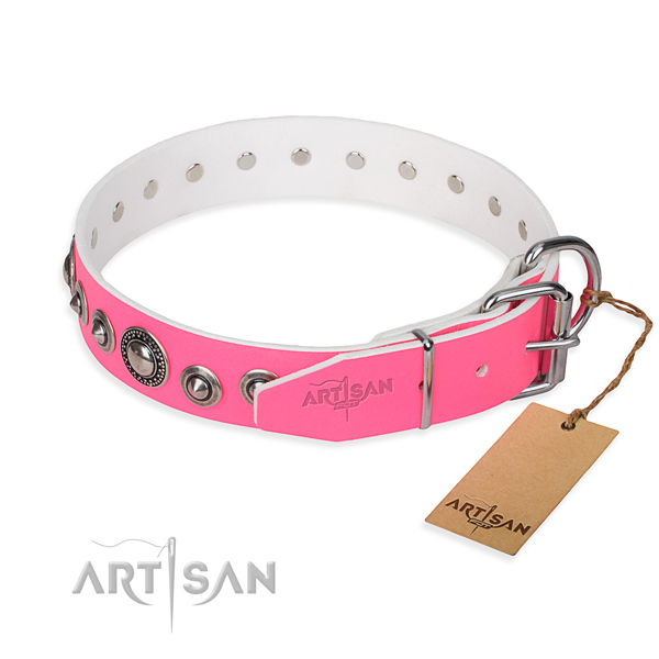 Full grain natural leather dog collar made of soft to touch material with durable adornments