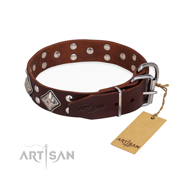 Full grain leather dog collar with incredible corrosion proof decorations