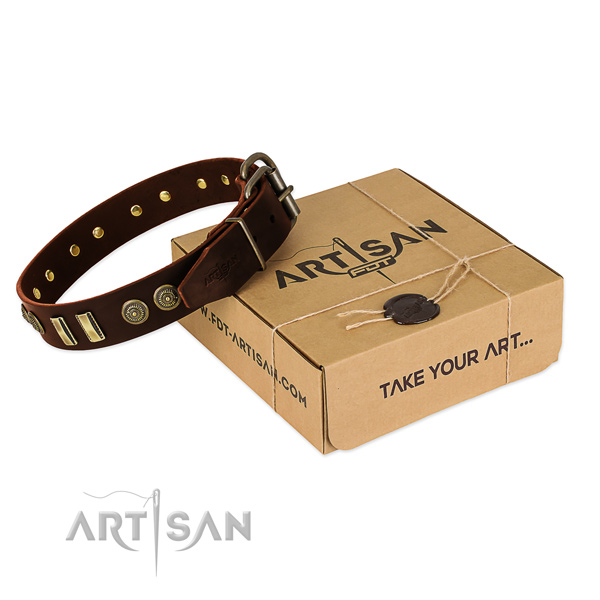 Durable traditional buckle on full grain genuine leather dog collar for your pet