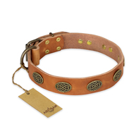 """Magic Amulet"" FDT Artisan Tan Leather Dogue de Bordeaux Collar with Oval Studs"
