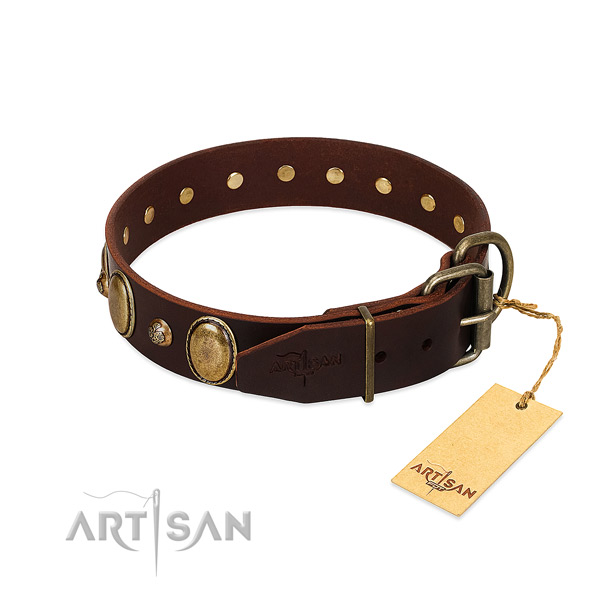 Strong D-ring on full grain genuine leather collar for basic training your pet