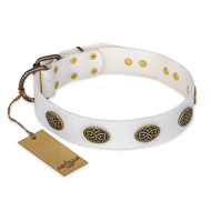 """Lovely Lace"" FDT Artisan White Leather Dogue de Bordeaux Collar with Old Bronze Look Ovals"