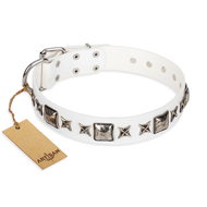 """Intergalactic Travelling"" FDT Artisan Handcrafted White Leather Dogue de Bordeaux Collar"