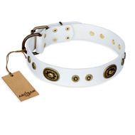 """Magnetic Appeal"" FDT Artisan White Leather Dogue de Bordeaux Collar with Old Bronze Look Decorations"