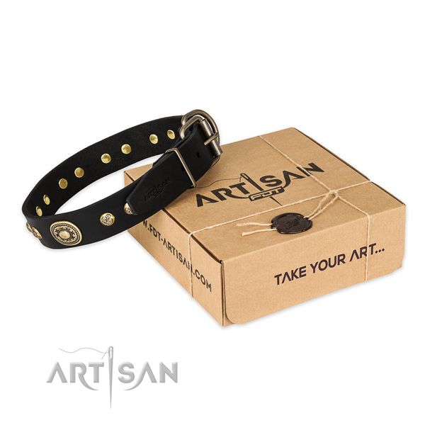 Corrosion proof fittings on full grain genuine leather dog collar for handy use